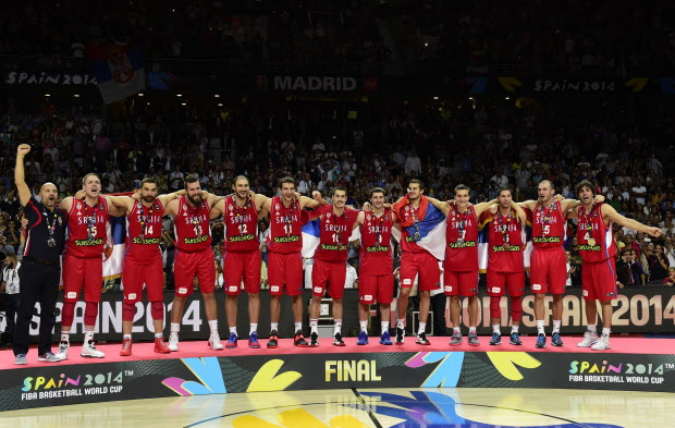 Silver medalllists Serbia's players celebrate on the podium after the 2014 FIBA World basketball championships final match USA vs Serbia at the Palacio de los Deportes in Madrid on September 14, 2014. USA won the match 129-92. AFP PHOTO/ JAVIER SORIANOJAVIER SORIANO/AFP/Getty Images
