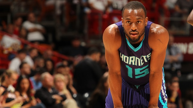 MIAMI, FL - APRIL 7: Kemba Walker #15 of the Charlotte Hornets during the game against the Miami Heat on April 7, 2015 at American Airlines Arena in Miami, Florida. NOTE TO USER: User expressly acknowledges and agrees that, by downloading and or using this Photograph, user is consenting to the terms and conditions of the Getty Images License Agreement. Mandatory Copyright Notice: Copyright 2015 NBAE (Photo by Issac Baldizon/NBAE via Getty Images)