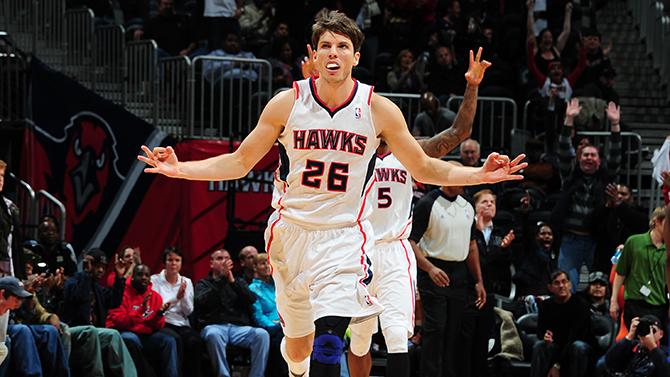 ATLANTA, GA - DECEMBER 26: Kyle Korver #26 of the Atlanta Hawks celebrates during the game against the Detroit Pistons on December 26, 2012 at Philips Arena in Atlanta, Georgia. NOTE TO USER: User expressly acknowledges and agrees that, by downloading and/or using this Photograph, user is consenting to the terms and conditions of the Getty Images License Agreement. Mandatory Copyright Notice: Copyright 2012 NBAE (Photo by Scott Cunningham/NBAE via Getty Images)