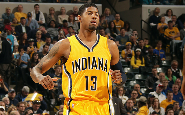 INDIANAPOLIS - APRIL 5: Paul George #13 of the Indiana Pacers runs down the court during a game against the Miami Heat at Bankers Life Fieldhouse on April 5, 2015 in Indianapolis, Indiana. NOTE TO USER: User expressly acknowledges and agrees that, by downloading and or using this Photograph, user is consenting to the terms and condition of the Getty Images License Agreement. Mandatory Copyright Notice: 2015 NBAE (Photo by Ron Hoskins/NBAE via Getty Images)
