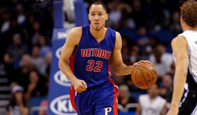 Mar 27, 2015; Orlando, FL, USA; Detroit Pistons forward Tayshaun Prince (22) drives to the basket against the Orlando Magic during the first half at Amway Center. Mandatory Credit: Kim Klement-USA TODAY Sports
