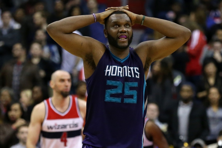 WASHINGTON, DC - MARCH 27: Al Jefferson #25 of the Charlotte Hornets reacts in the first overtime against the Washington Wizards at Verizon Center on March 27, 2015 in Washington, DC. The Washington Wizards won, 110-107, in double overtime. NOTE TO USER: User expressly acknowledges and agrees that, by downloading and or using this photograph, User is consenting to the terms and conditions of the Getty Images License Agreement. (Photo by Patrick Smith/Getty Images)